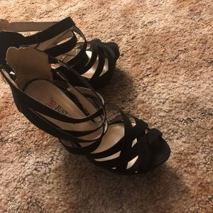 Just Fab black wedges size 8.5
